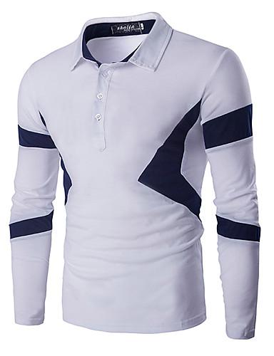 Heren Informeel Lente Herfst T-shirt,Dagelijks Sport Effen Kleurenblok Patchwork Ronde hals Lange mouw Katoen Medium