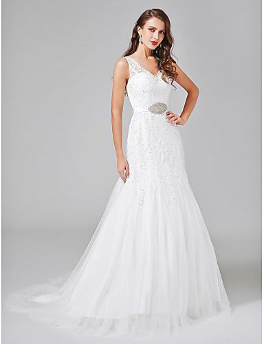 A-Linie V-Ausschnitt Hof Schleppe Spitze Tüll Hochzeitskleid mit Perlenstickerei Schärpe / Band Knopf durch LAN TING BRIDE®