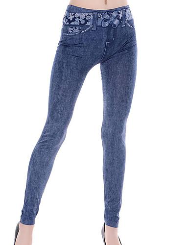 Naisten Yksiväriset Kuvio Denim Leggingsit,Polyesteri