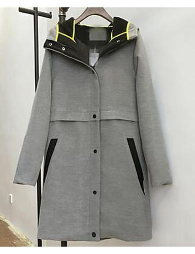 女性 プラスサイズ / カジュアル/普段着 秋 / 冬 ソリッド コート,シンプル グレイ コットン 長袖 厚手
