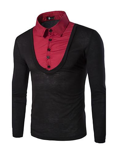 Heren Vintage Herfst / Winter T-shirt,Casual/Dagelijks / Werk Patchwork Overhemdkraag Lange mouw Blauw / Rood / Zwart / Grijs Katoen