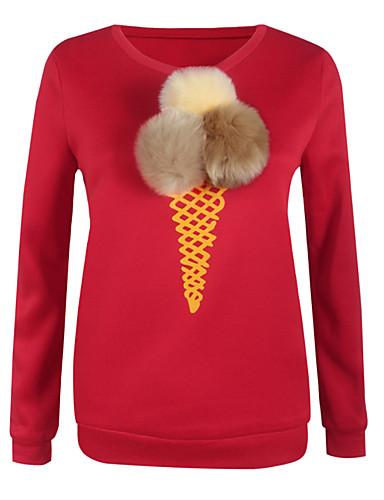 Dames Eenvoudig Schattig Casual/Dagelijks Sweatshirt Print Ronde hals Inelastisch Katoen Rayon Lange mouw Herfst Winter