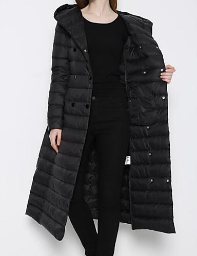 8d6e4635 Langærmet Lang Dunjakke Dame Frakke,Simpel Casual/hverdag / Plusstørrelser  Ensfarvet-Polyester Hvide