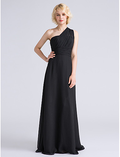 34efa331afdf Sheath   Column One Shoulder Floor Length Chiffon Bridesmaid Dress with  Side Draping   Ruched by
