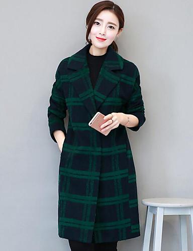 女性 カジュアル/普段着 秋 / 冬 チェック コート,シンプル グリーン ポリエステル 長袖 厚手