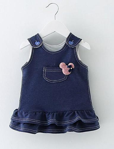 赤ちゃん 女の子の 日常 ソリッド コットン ドレス 冬 秋 ノースリーブ ブルー ピンク