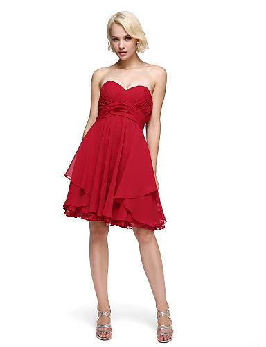 A-linje Trang og vid passform Kjære Knelang Chiffon Ball / Skoleball Kjole med Plissert av TS Couture®