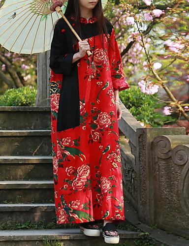 Feminino balanço Vestido,Casual Temática Asiática Floral Colarinho Chinês Longo Manga Longa Algodão Linho Primavera Outono Cintura Média