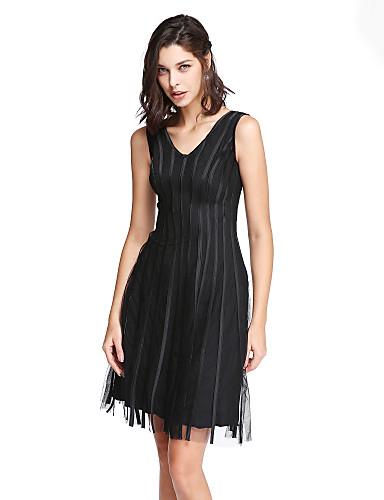 2017 ts couture® prom cocktailparty kjole kappe / kolonne v-hals knælange tyl med flæser