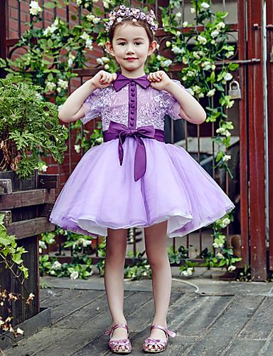Pallohuopa lyhyt / mini kukka tyttö mekko - pitsi tulle lyhythihainen hihat korkea kaulan kukka