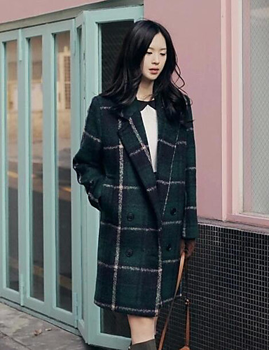 コート パッド入り レディース,カジュアル/普段着 チェック ポリエステル 中綿なし-シンプル 長袖