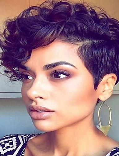 ราคาถูก Beauty & Hair-วิกผมสังเคราะห์ Wavy สไตล์ Pixie Cut ไม่มีฝาครอบ ผมปลอม ดำ สีดำ / สีแดง แดง Black สังเคราะห์ สำหรับผู้หญิง ส่วนด้านข้าง / กับ Bangs ดำ วิก Short AISI HAIR วิกธรรมชาติ