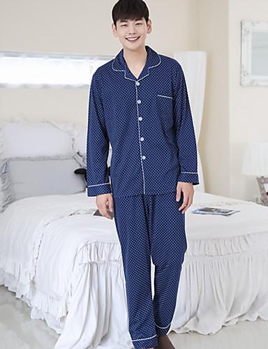 Hombre Cuello Camisero Traje Pijamas Un Color
