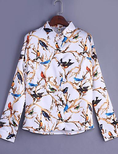 Naiset Pitkähihainen Keskipaksu Paitapuserokaula-aukko Polyesteri Kaikki vuodenajat Vintage Bile Paita,Painettu
