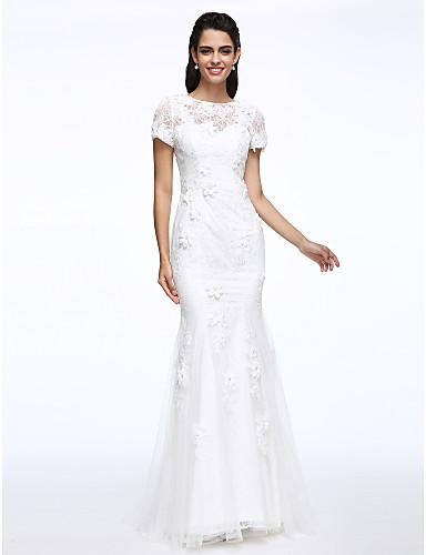 Trompete / Meerjungfrau Schmuck Pinsel Schleppe Spitze Hochzeitskleid mit Blume durch LAN TING BRIDE®