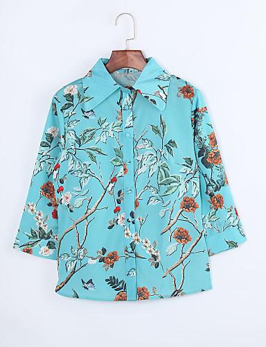 Polyester Grønn Medium Tre-kvart ermer,Skjortekrage Skjorte Trykt mønster Alle sesonger Vintage Ut på byen Dame