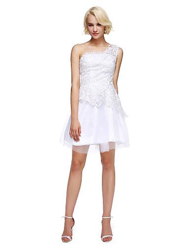 Linha A Assimétrico Curto / Mini Renda Tule Coquetel / Reunião de Classe / Baile de Formatura Vestido com Miçangas de TS Couture®