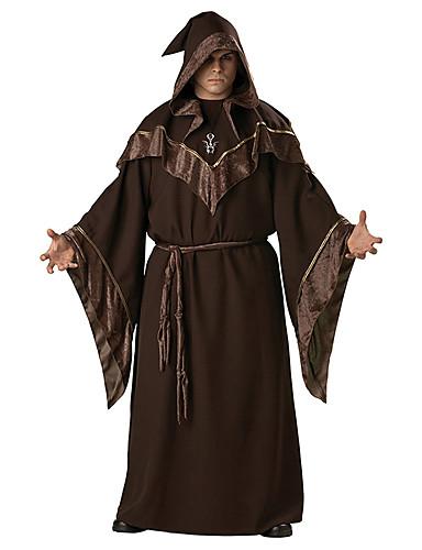 billige Voksenkostymer-Cosplay Kostumer Party-kostyme Trollmann/heks Festival/høytid Halloween-kostymer Brun Trykt mønster Kjole Belte Hatt HalloweenMann