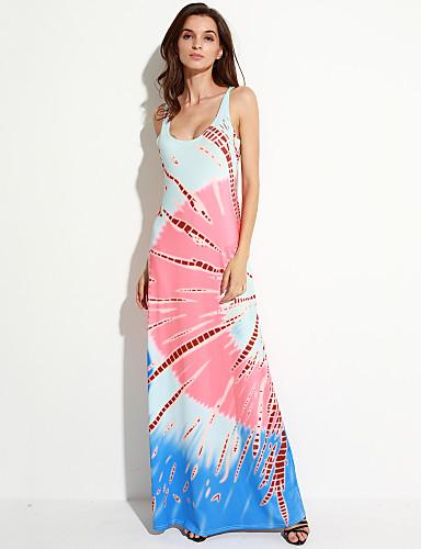 Damen Strand Etuikleid Kleid - Druck Maxi Gurt