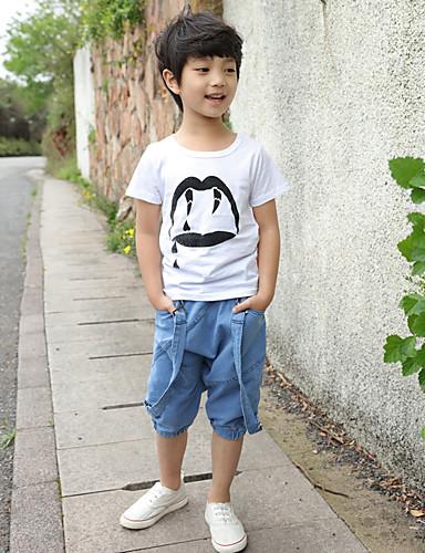 Para Meninos Calças Casual Cor Única Verão Algodão