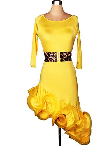 Latin Dansı Elbiseler Kadın's Performans Eğitim Spandeks Kırma Dantelli 2 Parça Yarım Kol Elbise Bel Kemeri