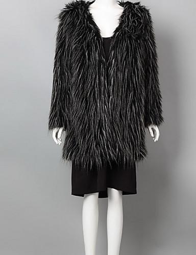 女性 お出かけ / パーティー 冬 ソリッド ファーコート,ストリートファッション アシメントリー ブラック フェイクファー 長袖 ミディアム