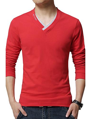 Miesten V kaula-aukko Puuvilla Pluskoko - T-paita, Yhtenäinen