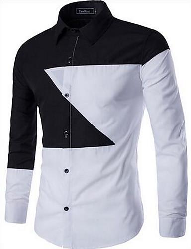 Bomull Blå / Sort Medium Langermet,Skjortekrage Skjorte Fargeblokk Høst Vintage Ut på byen Herre