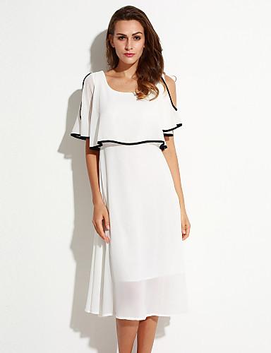 Mulheres Chifon Vestido,Casual Simples Sólido Decote Redondo Longo Meia Manga Branco Poliéster Verão