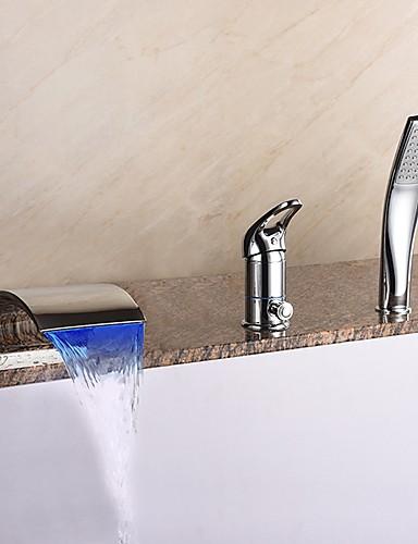 billige LED Badekarskran-Badekarskran - Moderne Krom Udspredt Keramisk Ventil Bath Shower Mixer Taps / Messing / Enkelt håndtak tre hull