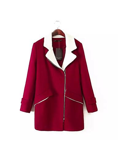 女性 お出かけ / カジュアル/普段着 冬 ソリッド コート,シンプル Vネック レッド / ブラック ポリエステル 長袖 ミディアム