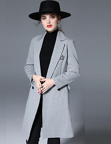 女性 カジュアル/普段着 秋 / 冬 ソリッド コート,シンプル ノッチドラペル ブラック / グレイ ウール 長袖