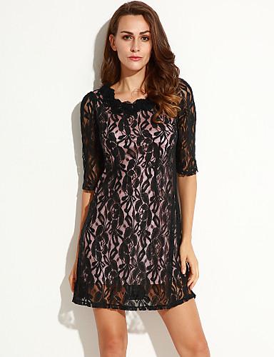 Γυναικεία Φόρεμα Δαντέλα Στρογγυλή Λαιμόκοψη Πάνω από το Γόνατο ½ Μανίκι Δαντέλα/Ελαστικό