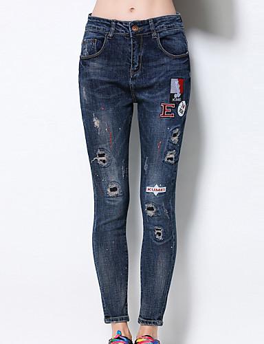Dame Skinny Store størrelser Jeans Bukser-Fritid/hverdag Vintage Ensfarget dratt Høyt liv Glidelås Bomull Uelastisk Sommer