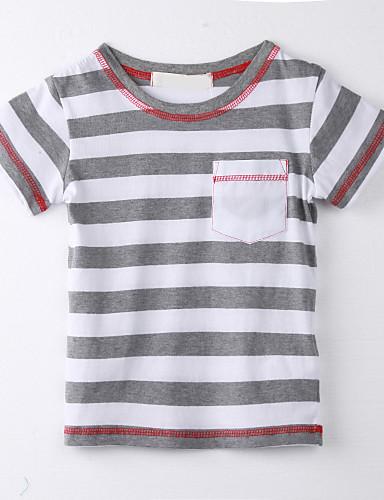 Mädchen T-Shirt Gestreift Baumwolle Sommer Rosa