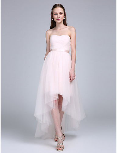 A-Line Sweetheart Neckline Asymmetrical Tulle Bridesmaid Dress with Sash / Ribbon / Criss Cross / Ruched by LAN TING BRIDE®