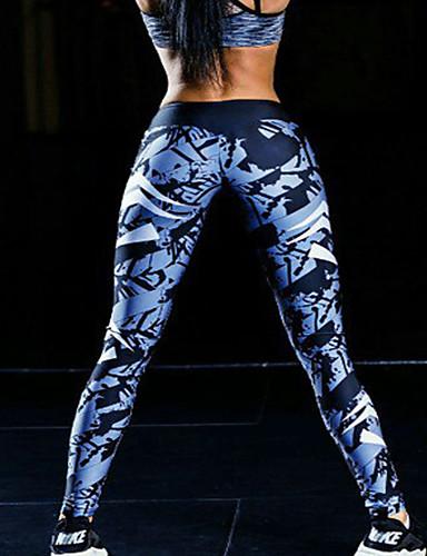 Mujer Activo Pitillo Pantalones de Deporte Pantalones - Geométrico, Estampado
