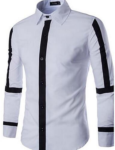 Bomull Medium Langermet,Skjortekrage Skjorte Ensfarget Fargeblokk Vår Høst Enkel Ut på byen Fritid/hverdag Herre