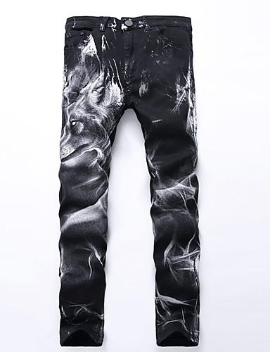 Hombre Punk & Gótico Chic de Calle Tallas Grandes Algodón Delgado Corte Recto Corte Ancho Chinos Pantalones Plisado Estampado