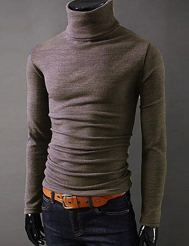 cheap Men's Tees & Tank Tops-Men's Daily Sports Going out Basic Slim T-shirt - Solid Colored Turtleneck Dark Gray L / Long Sleeve