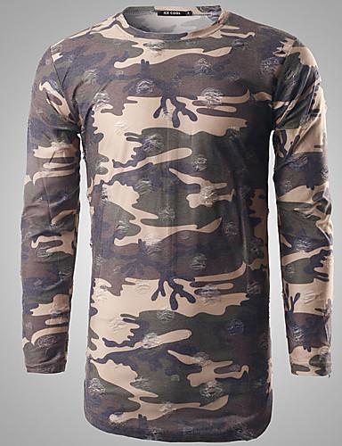 男性 春 Tシャツ,シンプル ラウンドネック ソリッド / プリント グレイ コットン 長袖 ミディアム