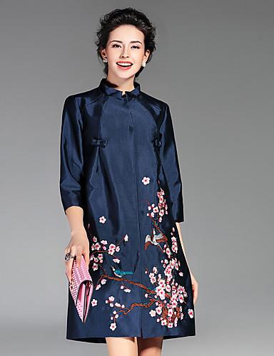 女性用 トレンチコート-アジアン・エスニック スタンド フラワー 刺繍