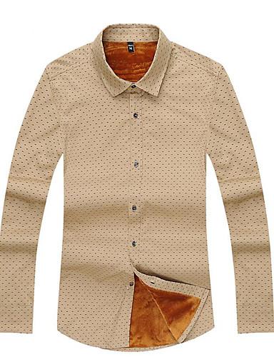 Polyester Blå / Rød / Hvit / Gul Medium Langermet,Klassisk krage Skjorte Geometrisk Høst / Vinter Enkel Ut på byen / Fritid/hverdag Herre
