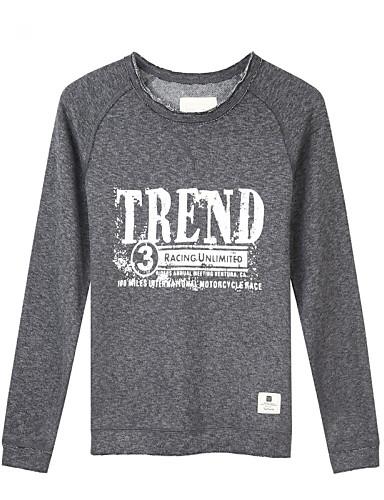 Trenduality® Muškarci Okrugli izrez Dugi rukav Majica Siva Marl - 47041