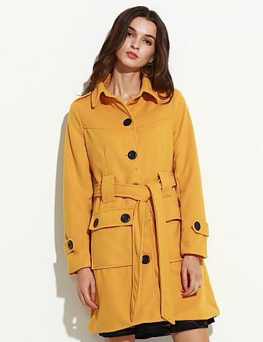 Women 39 S Going Out Simple Coat Solid Shirt Collar Long