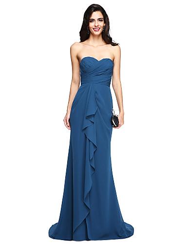 Funda / Columna Escote Corazón Larga Raso Vestido de Dama de Honor con En Cruz / Volantes / Fruncido por LAN TING BRIDE®