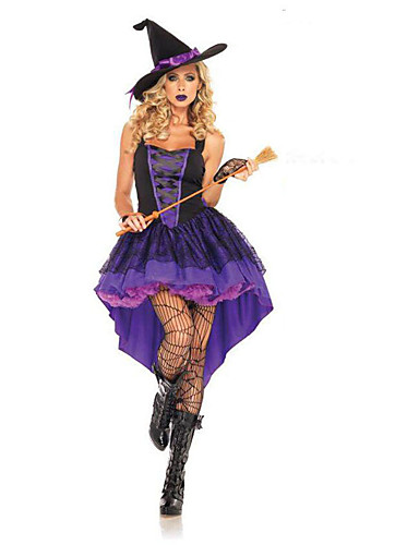 halpa Halloween- ja karnevaaliasut-noita Mekot / Cosplay-Asut Aikuisten Juhla / ilta / Naamiaiset Naisten Purppura Teryleeni Cosplay-tarvikkeet Halloween / Karnevaali Puvut / Nainen