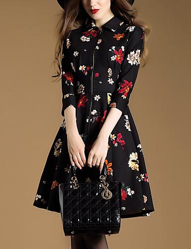 Feminino Evasê Vestido,Casual Vintage Floral Decote Quadrado Acima do Joelho Poliéster Outono Inverno Cintura Média Sem Elasticidade Média