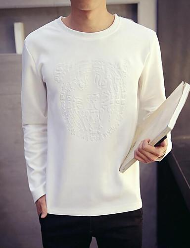 Bomull Medium Langermet,Rund hals T-skjorte Ensfarget Høst Sexy Søt Chinoiserie Formell Arbeid Klubb Herre