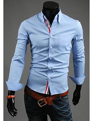 男性用 シャツ アジアン・エスニック / ストリートファッション レギュラーカラー スリム ソリッド コットン